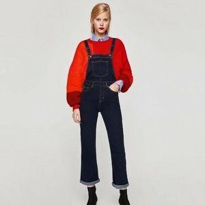 Zara dark blue denim wide leg dungaree overalls